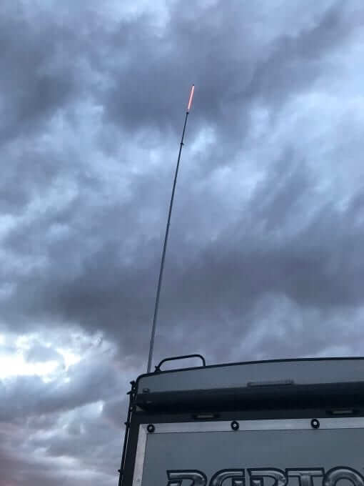 LED Camp Locator mounted on 22 foot deluxe flag pole