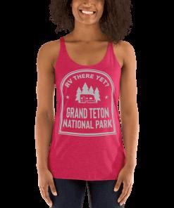 RV There Yet? Grand Teton National Park Racerback Tank (Women's) Vintage Shocking Pink