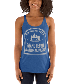 RV There Yet? Grand Teton National Park Racerback Tank (Women's) Vintage Royal