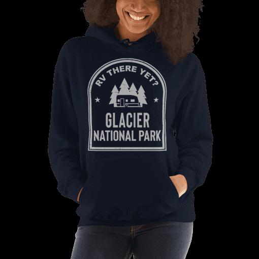 RV There Yet? Glacier National Park Hooded Sweatshirt (Unisex) Navy