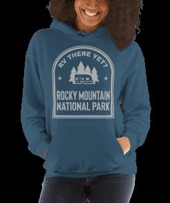 RV There Yet? Rocky Mountain National Park Hooded Sweatshirt (Unisex) Indigo Blue