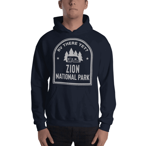 RV There Yet? Zion National Park Hooded Sweatshirt (Unisex) Navy