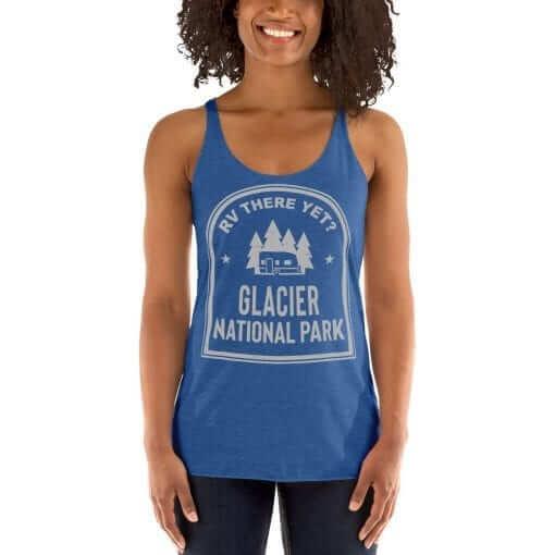 RV There Yet? Glacier National Park Racerback Tank (Women's) Vintage Royal