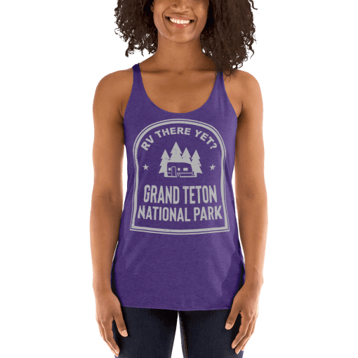 RV There Yet? Grand Teton National Park Racerback Tank (Women's) Purple Rush
