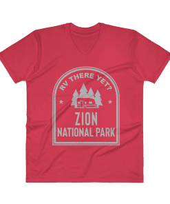 RV There Yet? Zion National Park V-Neck (Men's) Red