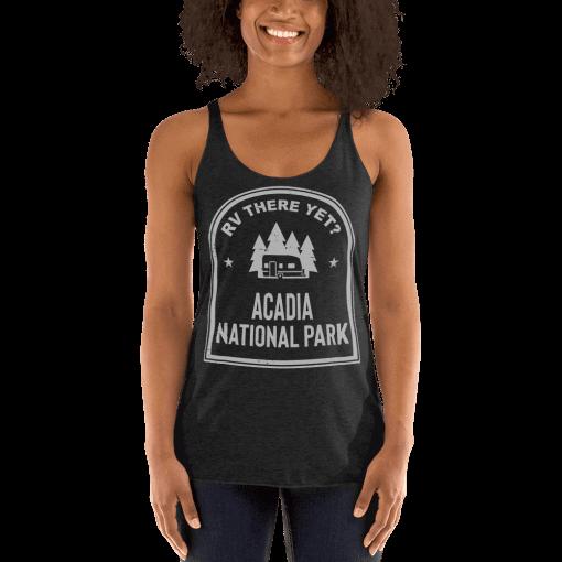 RV There Yet? Acadia National Park Racerback Tank (Women's) Vintage Black
