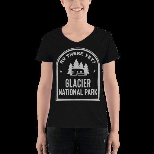 RV There Yet? Glacier National Park V-Neck (Women's) Black