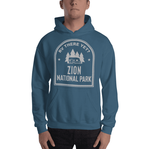 RV There Yet? Zion National Park Hooded Sweatshirt (Unisex) Indigo Blue