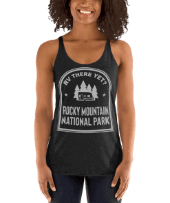 RV There Yet? Rocky Mountain National Park Racerback Tank (Women's) Vintage Black