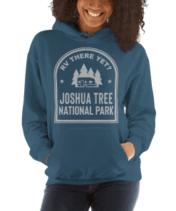 RV There Yet? Joshua Tree National Park Hooded Sweatshirt (Unisex) Indigo Blue