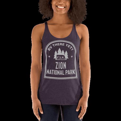 RV There Yet? Zion National Park Racerback Tank (Women's) Vintage Purple