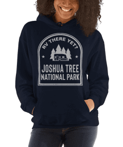 RV There Yet? Joshua Tree National Park Hooded Sweatshirt (Unisex) Navy
