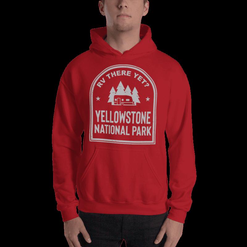 RV There Yet? Yellowstone National Park Hooded Sweatshirt (Unisex) Red