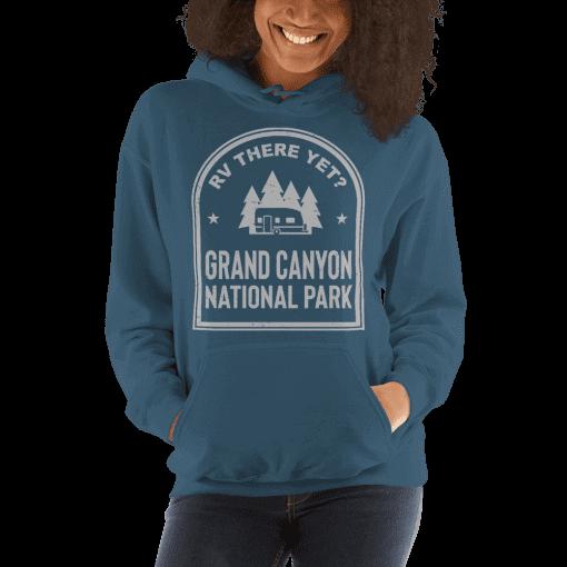 RV There Yet? Grand Canyon National Park Hooded Sweatshirt (Unisex) Indigo Blue
