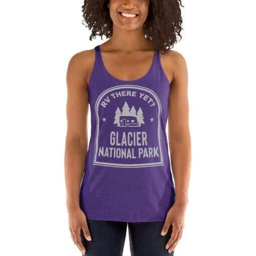 RV There Yet? Glacier National Park Racerback Tank (Women's) Purple Rush
