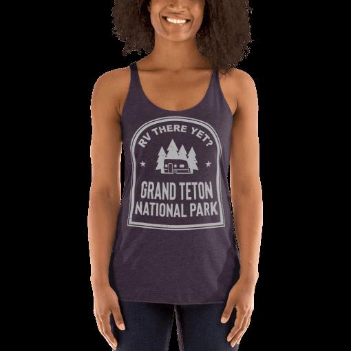 RV There Yet? Grand Teton National Park Racerback Tank (Women's) Vintage Purple