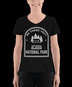 RV There Yet? Acadia National Park V-Neck (Women's) Black