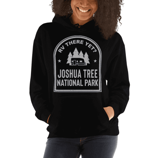 RV There Yet? Joshua Tree National Park Hooded Sweatshirt (Unisex) Black