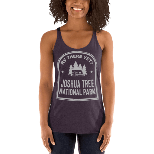RV There Yet? Joshua Tree National Park Racerback Tank (Women's) Vintage Purple