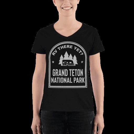 RV There Yet? Grand Teton National Park V-Neck (Women's) Black