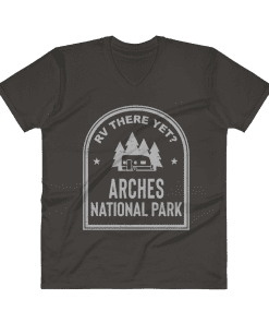 RV There Yet? Arches National Park V-Neck (Men's) Smoke