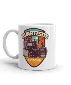 RV Destination Quartzsite Ham Radio Camp Mug 11 oz Handle Left