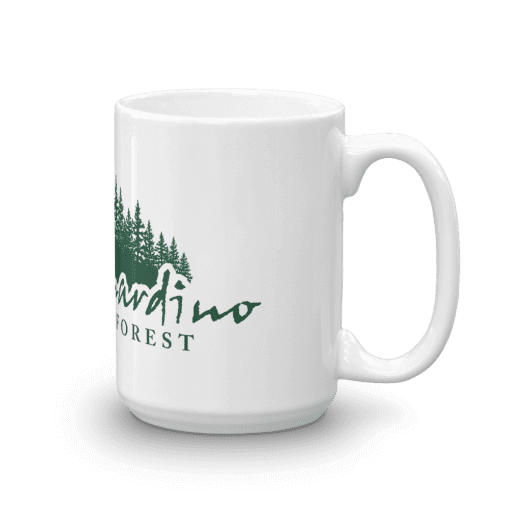 Authentic San Bernardino National Forest Camp Mug 15oz Handle Right
