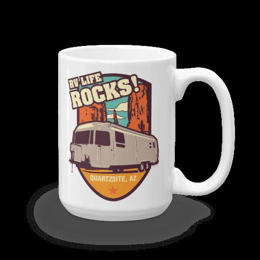 RV Destination Quartzsite Life Rocks Camp Mug 15oz Handle Right