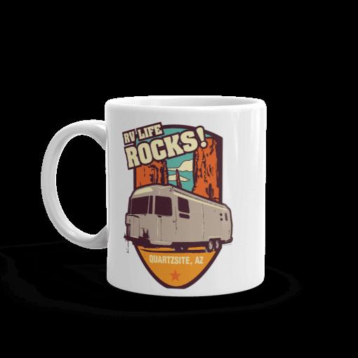 RV Destination Quartzsite Life Rocks Camp Mug 11 oz Handle Left