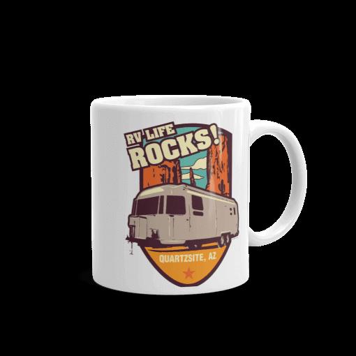 RV Destination Quartzsite Life Rocks Camp Mug 11 oz Handle Right