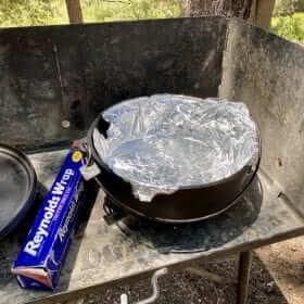 Aluminum foil lined Lodge Dutch Oven